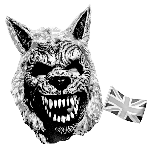 Werewolf face with a Union Jack flag