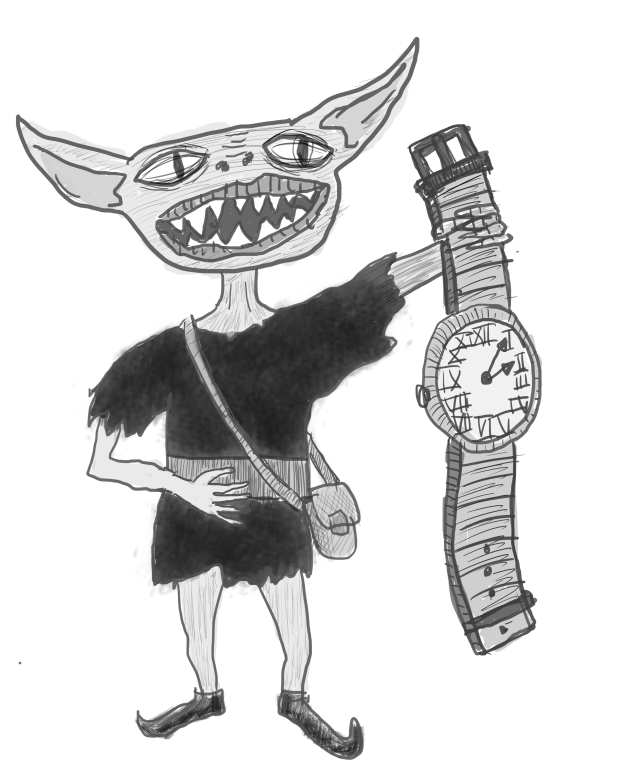 A Drow holding a watch