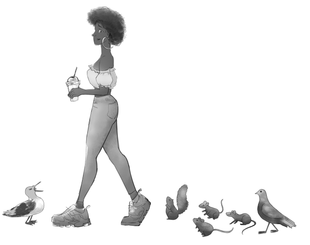 A woman looks concerned as animals flock around her whilst she walks along holding a drink.
