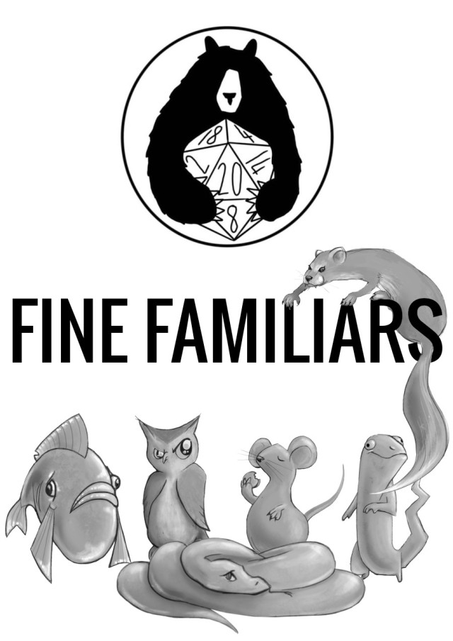 Fine Familiars cover, with Ursidice Bear logo and a gang of animals. A weasel is climbing over the title of the game.