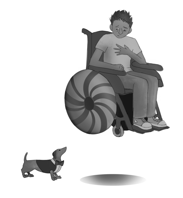 A man in a wheel chair, hovering above a sausage dog in a suit. Both look concerned.