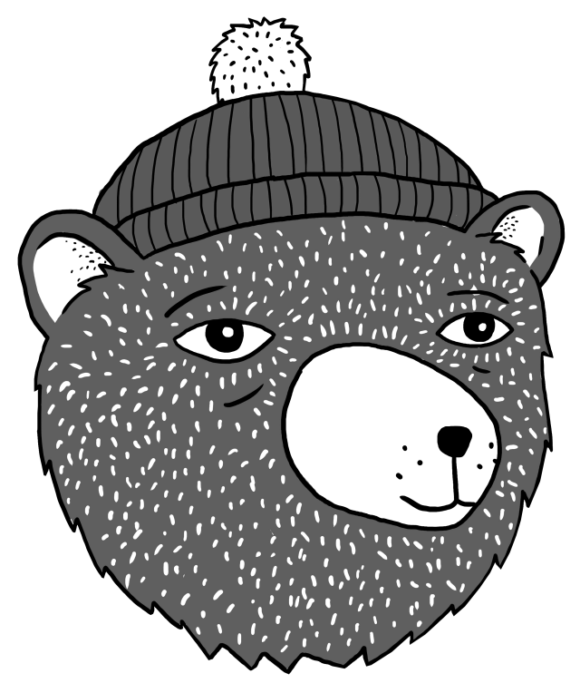 A cartoon of a bear wearing a bobble hat
