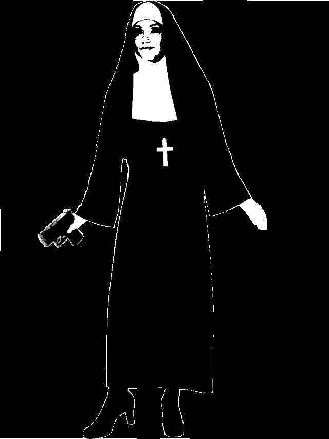 A Nun with a pistol