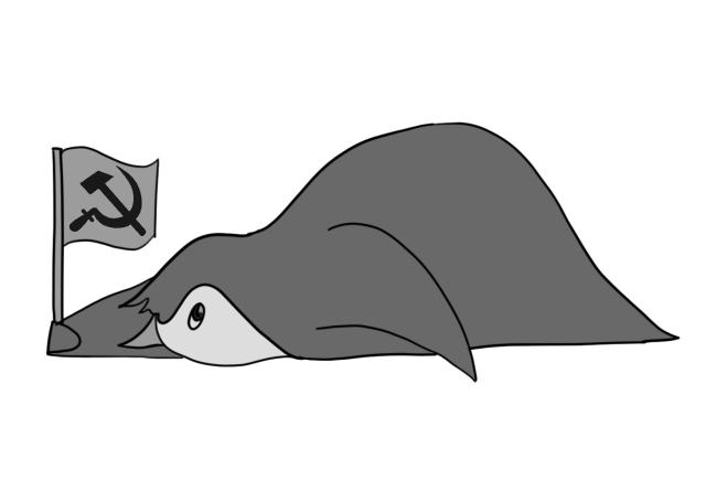 Penguin lying down, waving a soviet flag