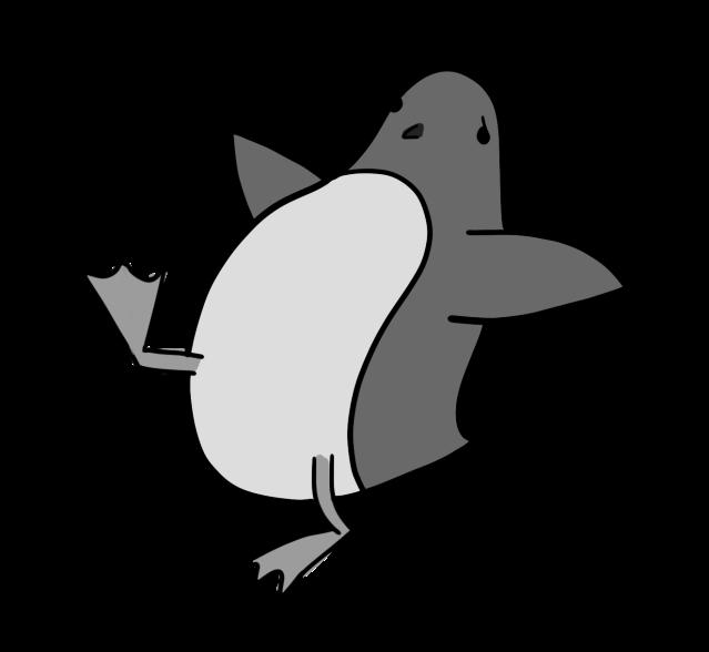 Penguin slipping backwards
