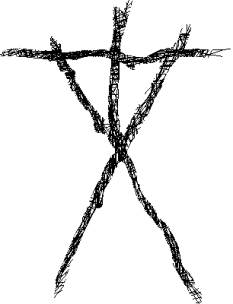 Cross hatch stick figure in Blair Witch style