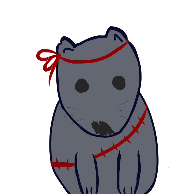 Cartoon wombat with red headband and red ammunition belt