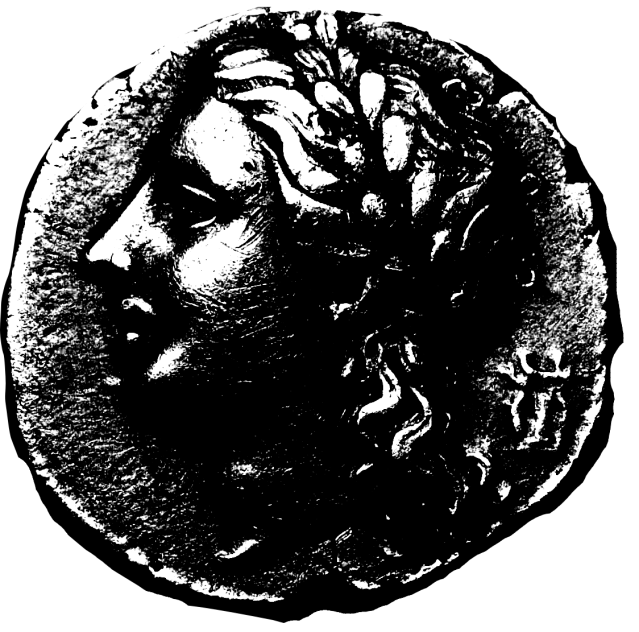 stencil image of a coin with a head showing
