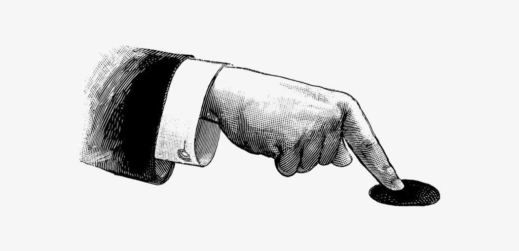 Disembodied arm wearing suit in Etching style with finger pushing button