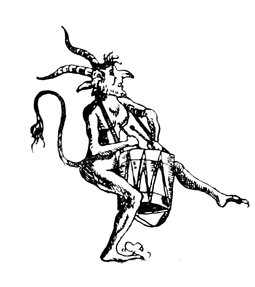 An impish figure, with a long nose and ears, horns, and a tail dancing, whilst holding a drum.
