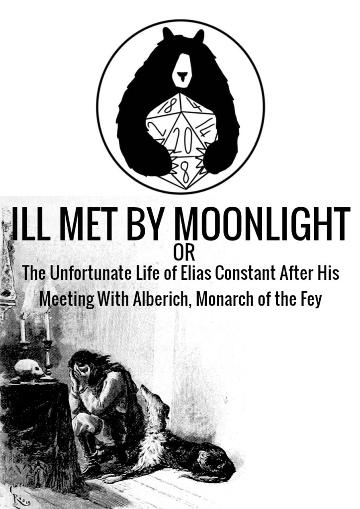 Cover image for Ill Met By Moonlight or The Unfortunate Life of Elias Constant After His Meeting With Alberich, Monarch Of The Fey showing a man with his head in his hands in front of a candle and a skull, with a dog next to him