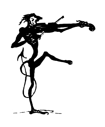 An imp, with one leg raised, playing a fiddle. Its proportions are much longer than those of a human.