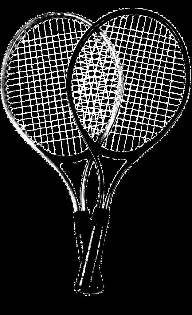 pair of crossed tennis rackets