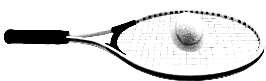 racket laid on the ground, with a ball placed on it