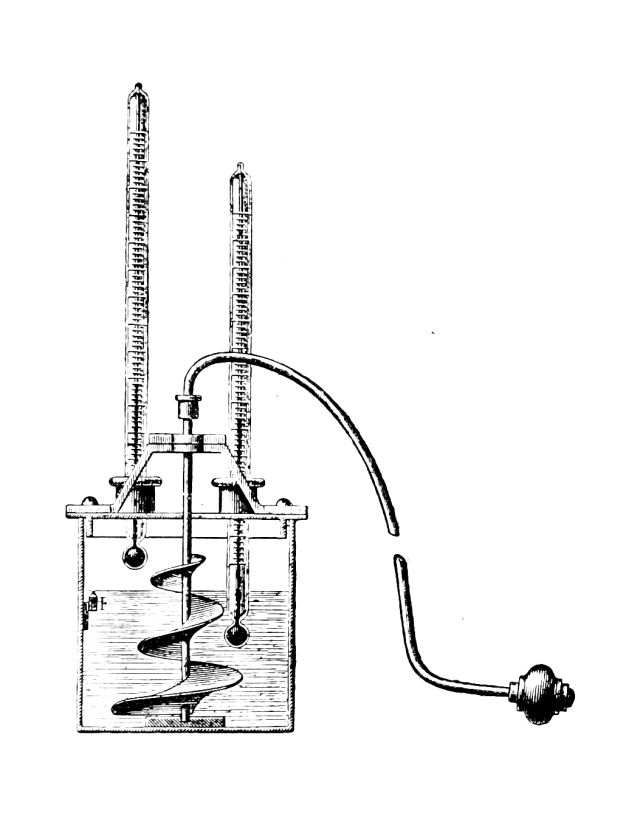 A peculiar machine, which looks like a box with pistons, a whirling central fan, and some form of pump
