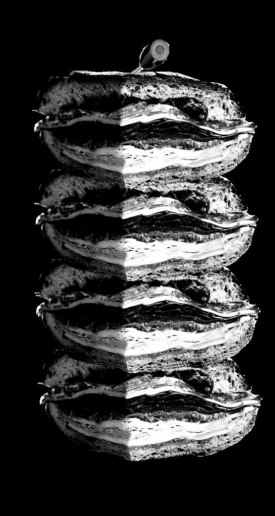 An incredibly tall sandwich